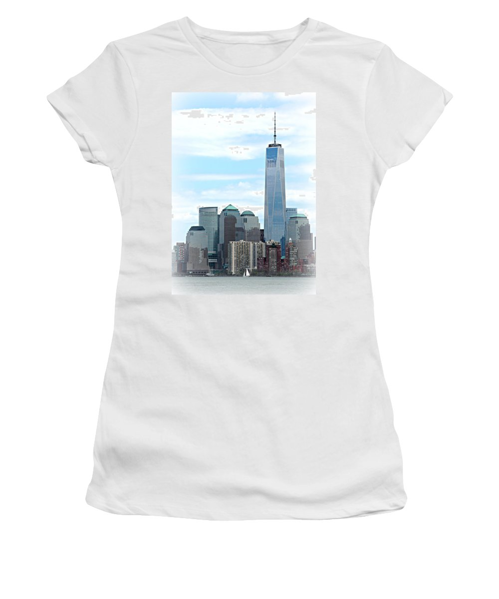 9-11 Women's T-Shirt featuring the photograph Freedom Rising by Stephen Stookey