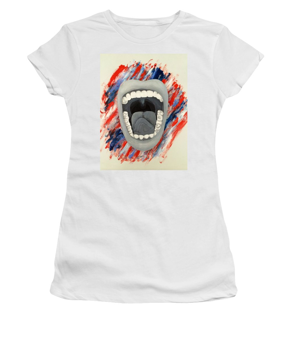 Usa Women's T-Shirt featuring the painting Americas Voice by Scott French
