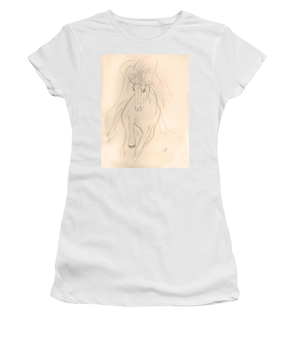 Horse Women's T-Shirt (Athletic Fit) featuring the drawing Freedom To Run by Donna Blackhall