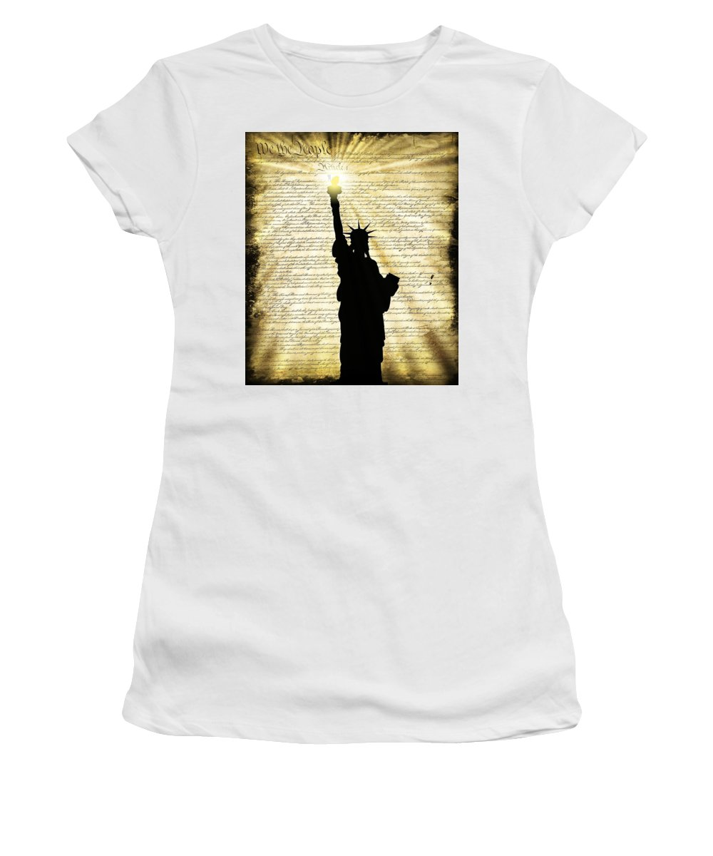 Freedom Women's T-Shirt featuring the digital art Freedoms Light by Daniel Hagerman
