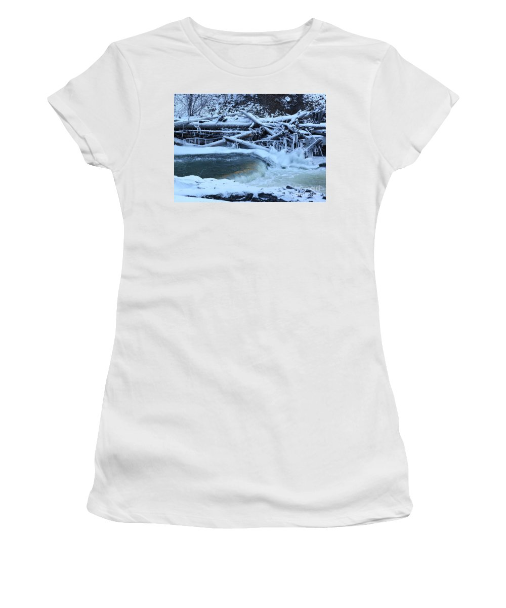 Dam Women's T-Shirt featuring the photograph Freezing Dam by Carol Groenen