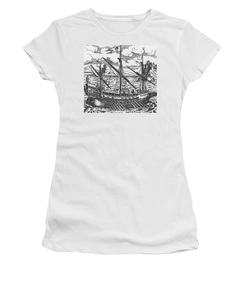 Ship; Oar; Oars; Sail; Sails; Crew; Sea; Eastern Mediterranean; Trade; Port; Trading; Mast; Masts; Seaport; Seaports; Vessel; Woodcut; Engraving Women's T-Shirt (Athletic Fit) featuring the drawing French Galley Operating In The Ports Of The Levant Since Louis Xi by French School
