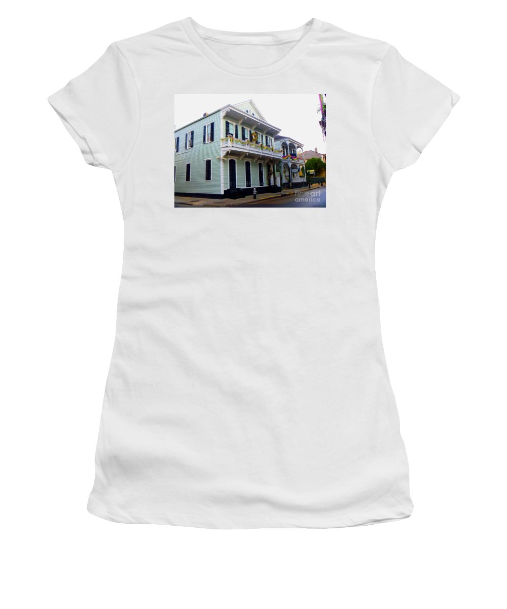 French Quarter Women's T-Shirt (Athletic Fit) featuring the photograph French Quarter Architecture by Alys Caviness-Gober