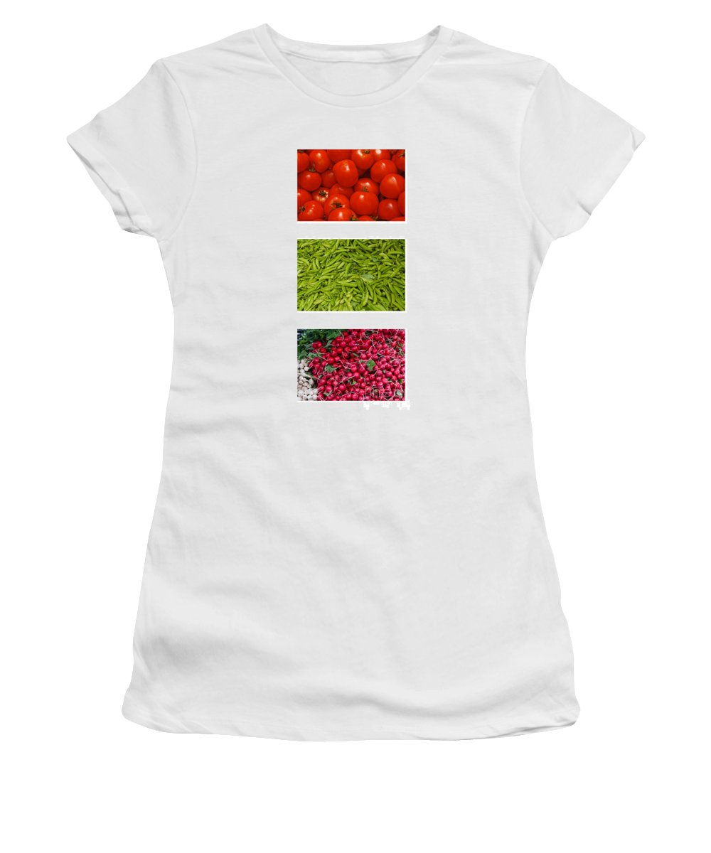 Tomato Women's T-Shirt (Athletic Fit) featuring the photograph Fresh Vegetable Triptych by Thomas Marchessault