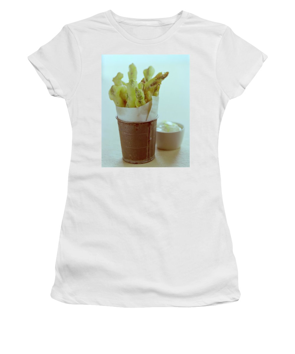Food Women's T-Shirt featuring the photograph Fried Asparagus by Romulo Yanes
