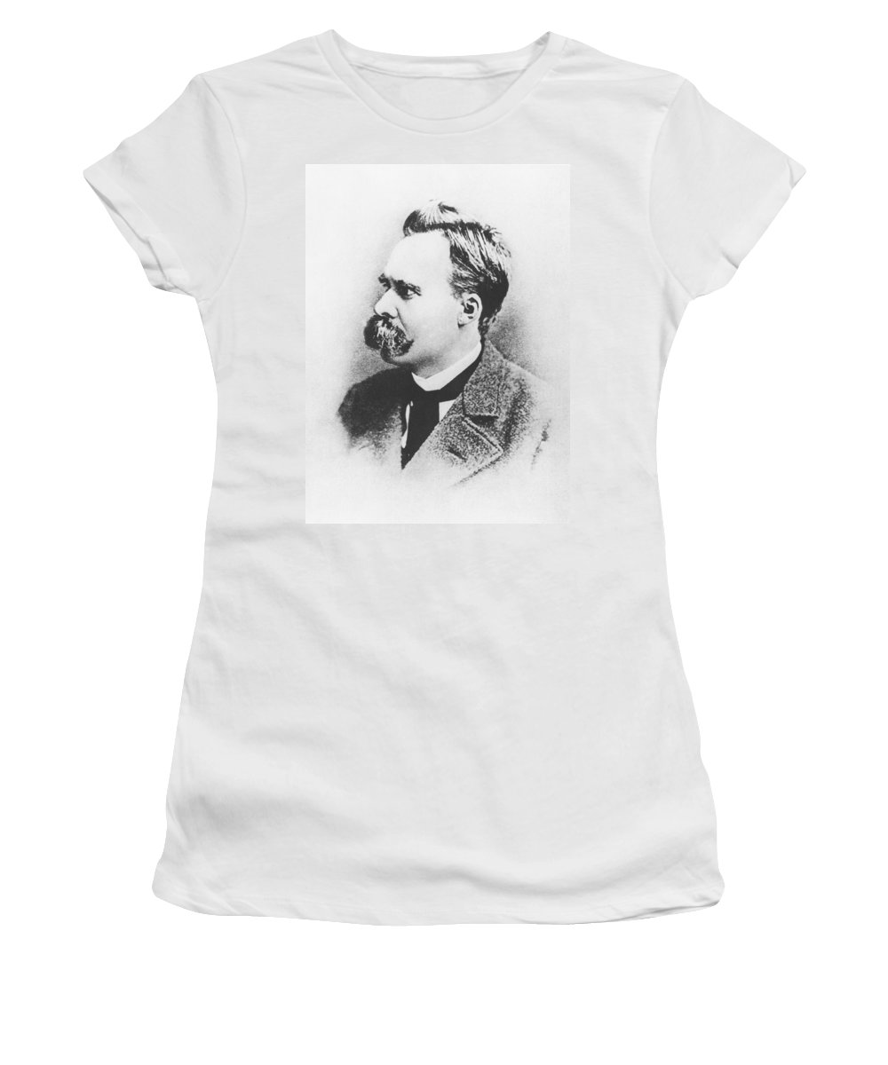 Male; Portrait; Academic; Atheist; Atheism; Nihilist; Nihilism; Scholar; Moustache Women's T-Shirt featuring the photograph Friedrich Wilhelm Nietzsche In 1883 by German Photographer