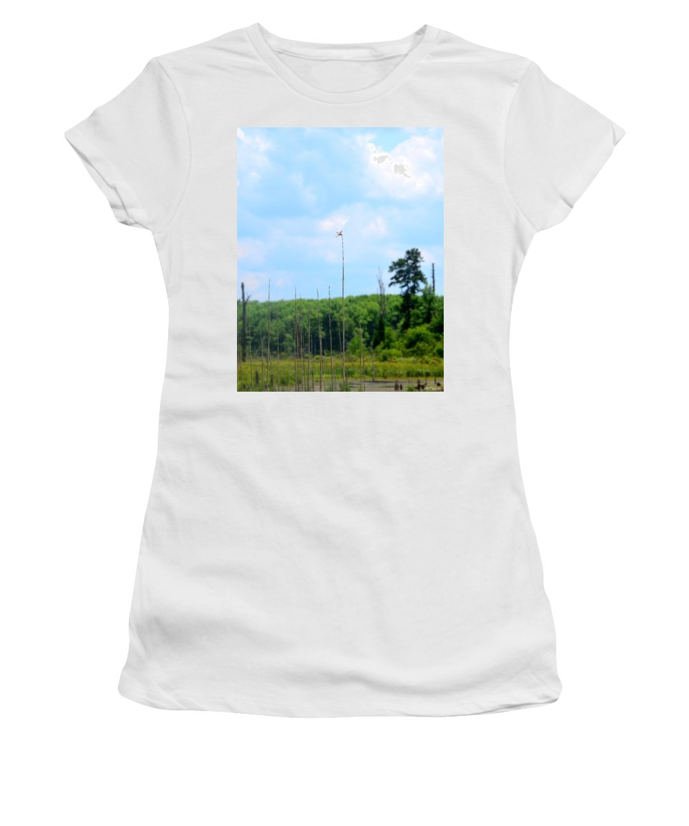 From A Dragonfly's Point Of View Women's T-Shirt featuring the photograph From A Dragonfly's Point Of View by Maria Urso
