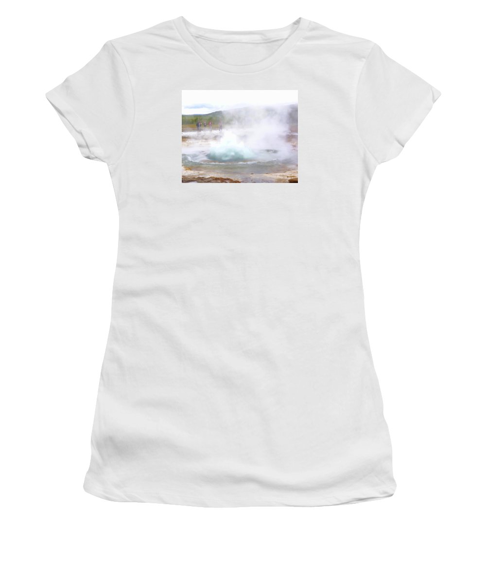 Geysir Women's T-Shirt (Athletic Fit) featuring the photograph There Is Always Water Boiling Deep Inside The Ground by Hilde Widerberg