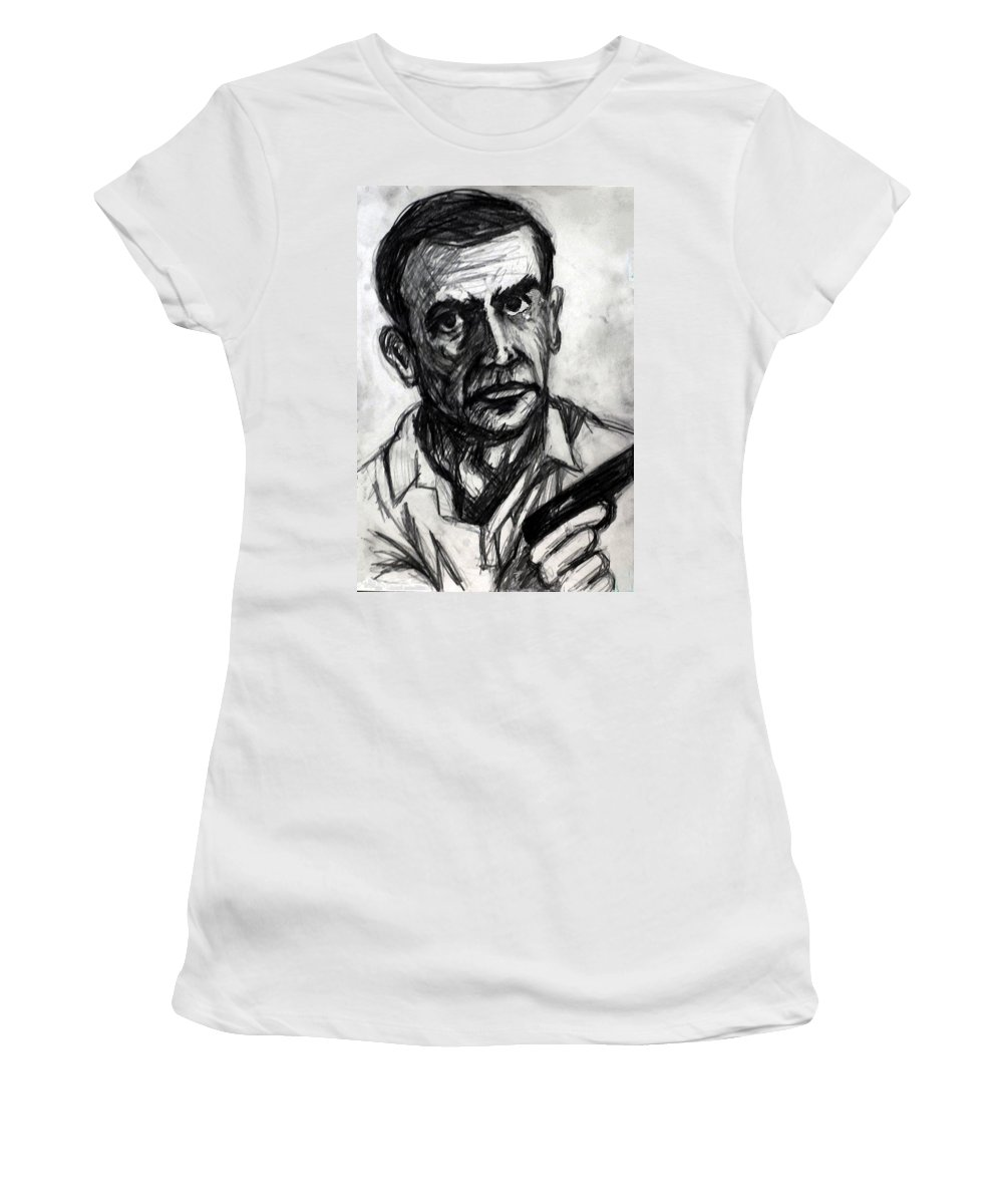 James Women's T-Shirt featuring the drawing From Russia With Love by Paul Sutcliffe