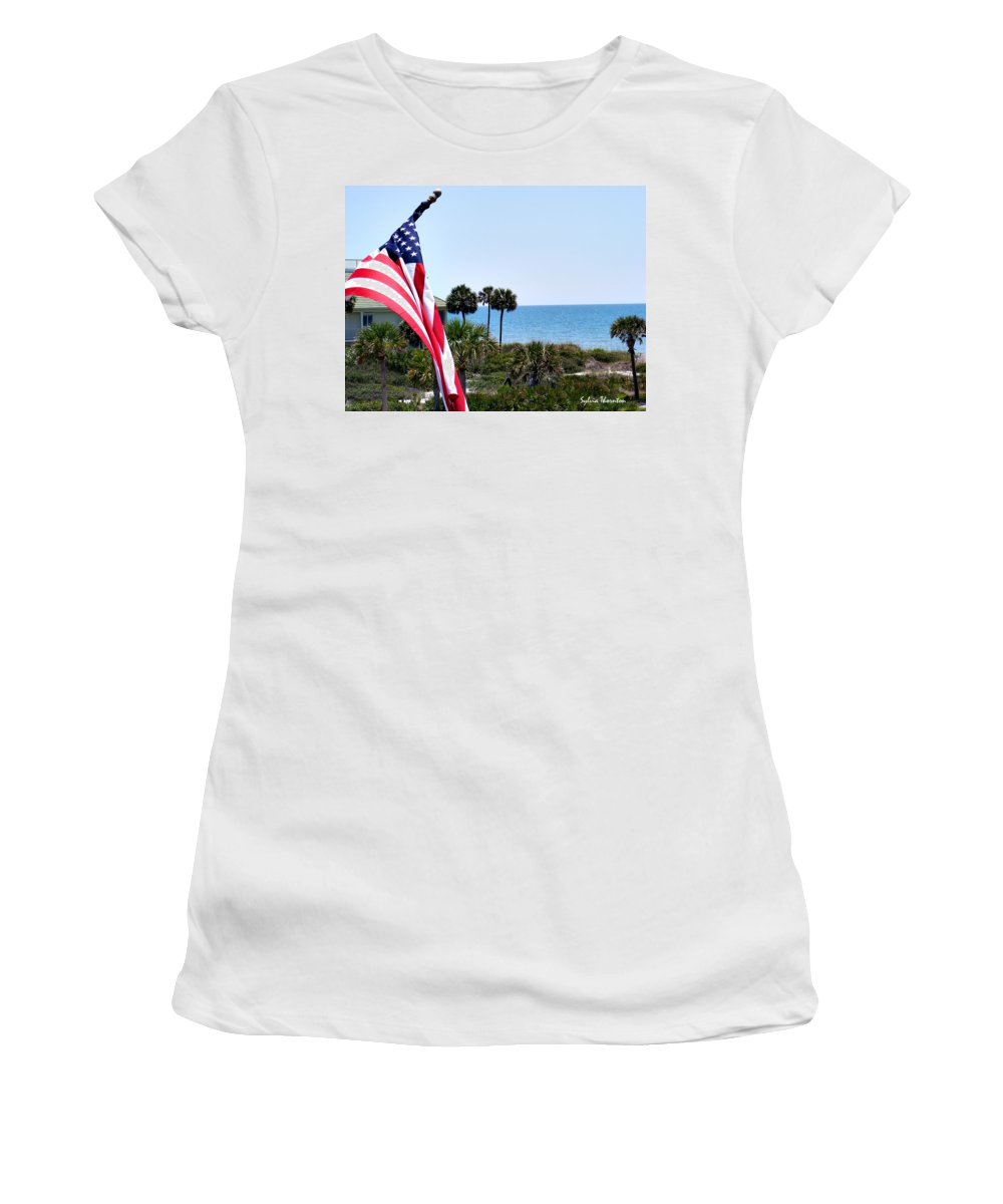 Beach Women's T-Shirt (Athletic Fit) featuring the photograph From Sea To Shining Sea by Sylvia Thornton