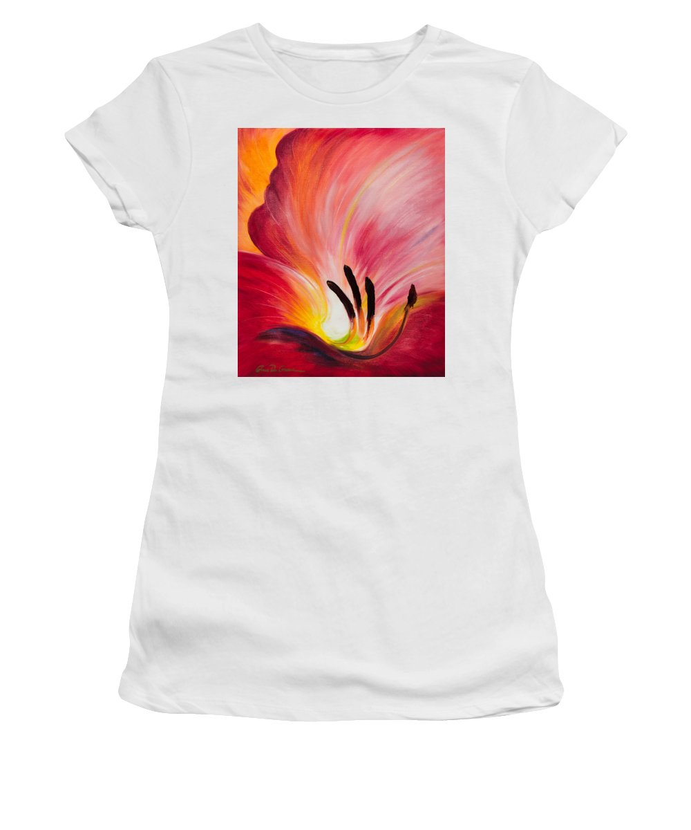 Red Women's T-Shirt (Athletic Fit) featuring the painting From The Heart Of A Flower Red I by Gina De Gorna