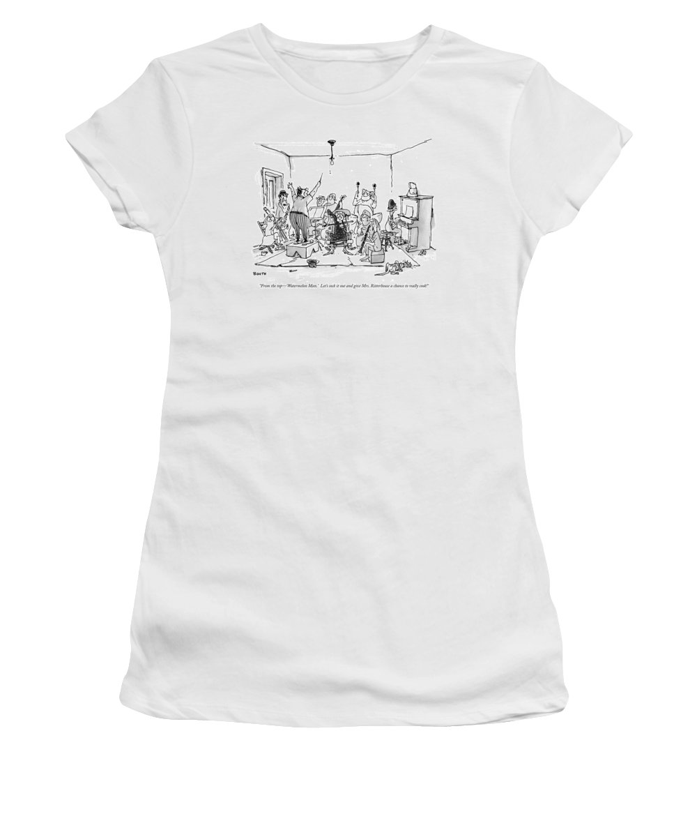 (man Conducting Band Of Senior Citizens In Living Room.) Relationships Women's T-Shirt featuring the drawing From The Top - 'watermelon Man.' Let's Sock by George Booth