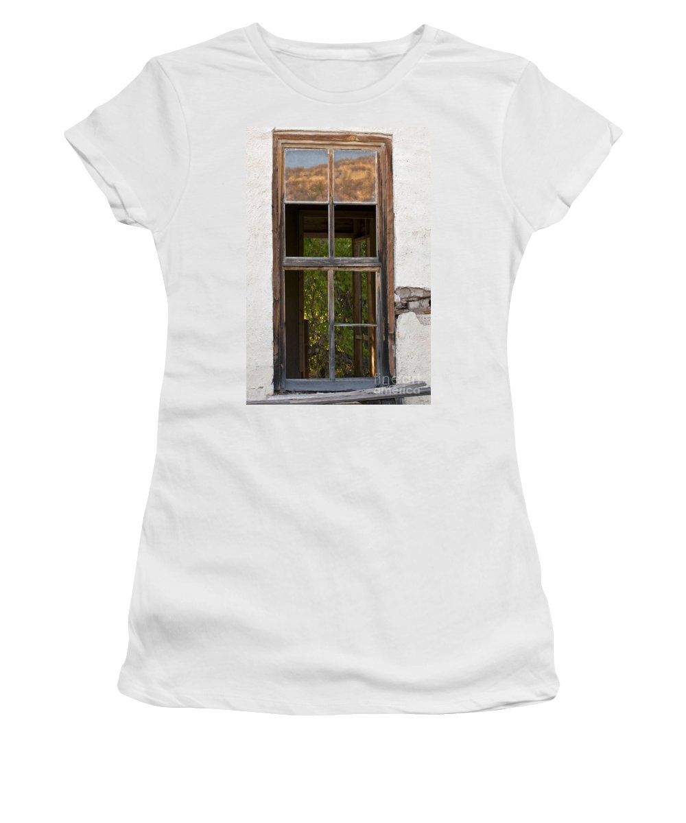 Big Bend Ranch State Park Parks Window Frame Frames Windows View Views Women's T-Shirt featuring the photograph Front And Rear Views by Bob Phillips