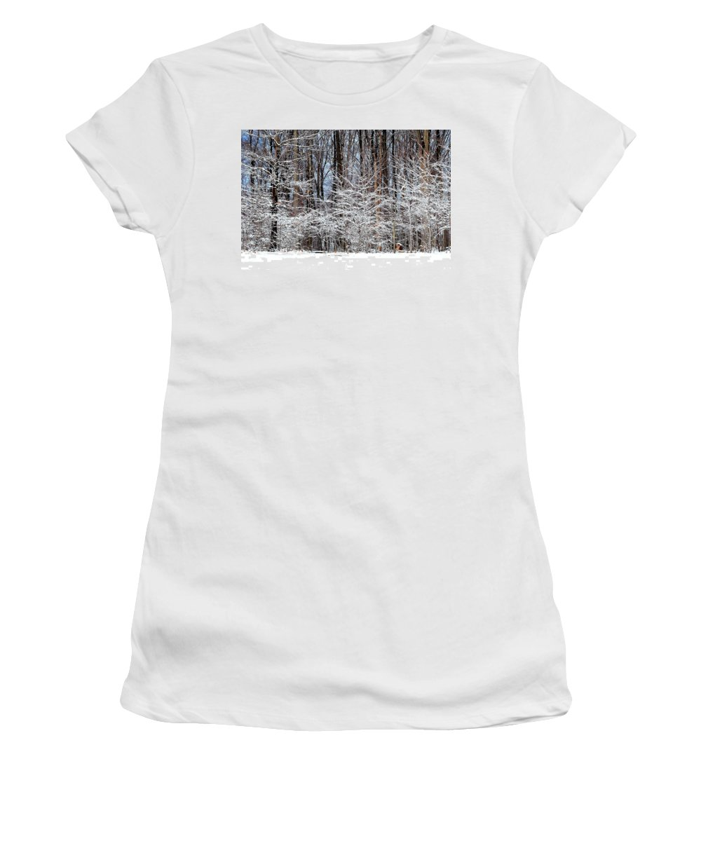 Snow Women's T-Shirt featuring the photograph Frosty by Frozen in Time Fine Art Photography