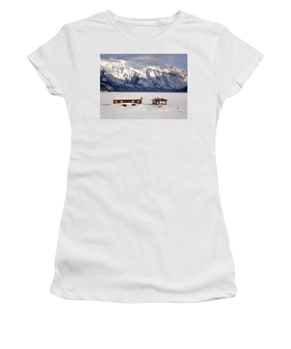 Mountain Women's T-Shirt (Athletic Fit) featuring the photograph Lake Minnewanka, Alberta - Banff - Frozen Docks by Ian Mcadie