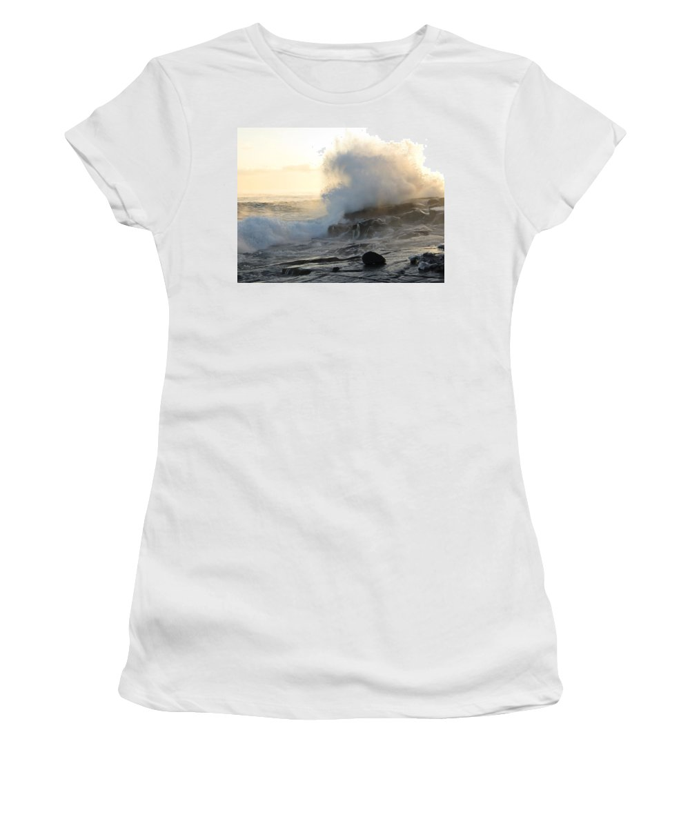 Lake Superior Women's T-Shirt (Athletic Fit) featuring the photograph Frozen Fury by Alison Gimpel