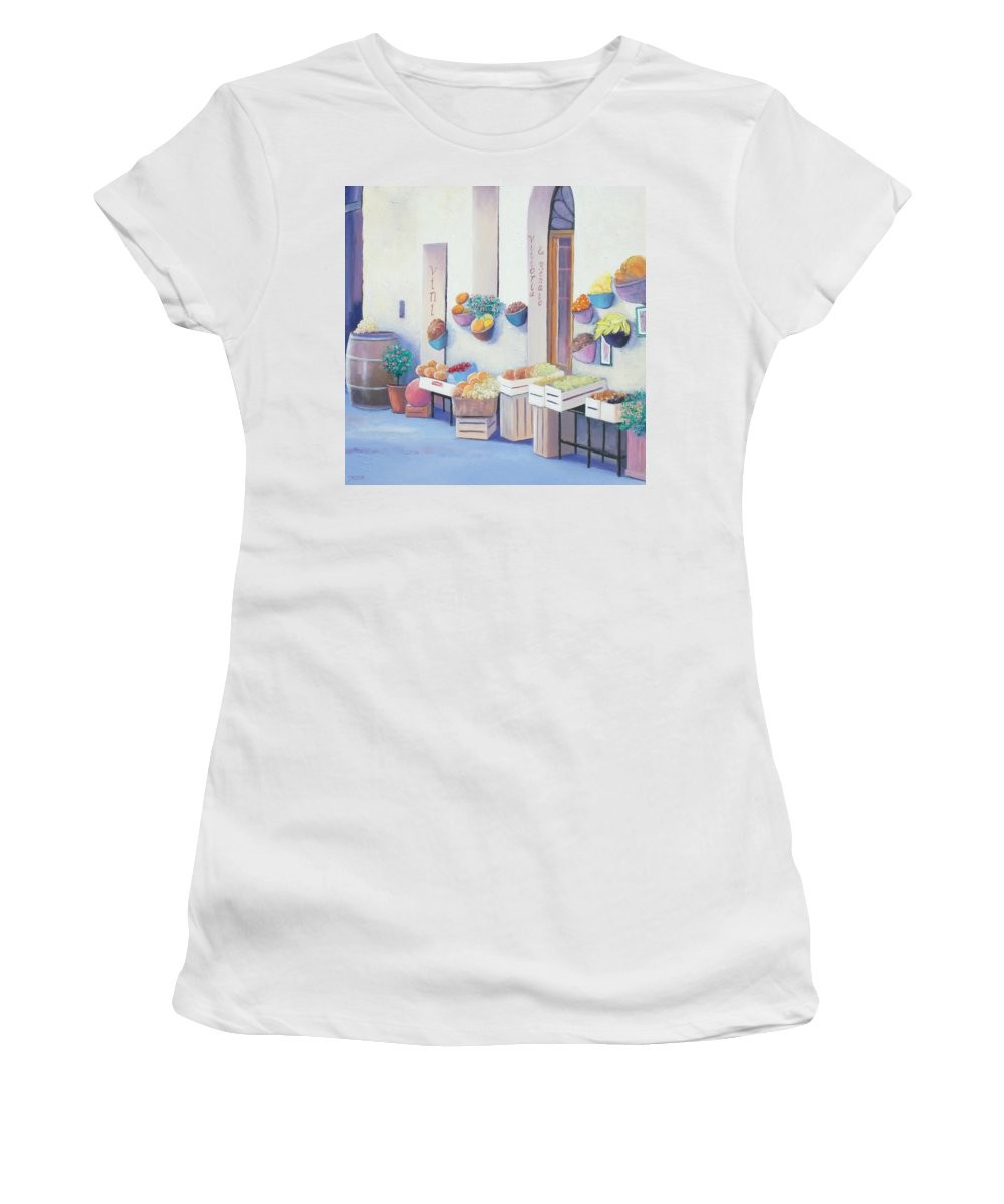 Fruit Market Women's T-Shirt featuring the painting Fruit Market In Tuscany by Jan Matson