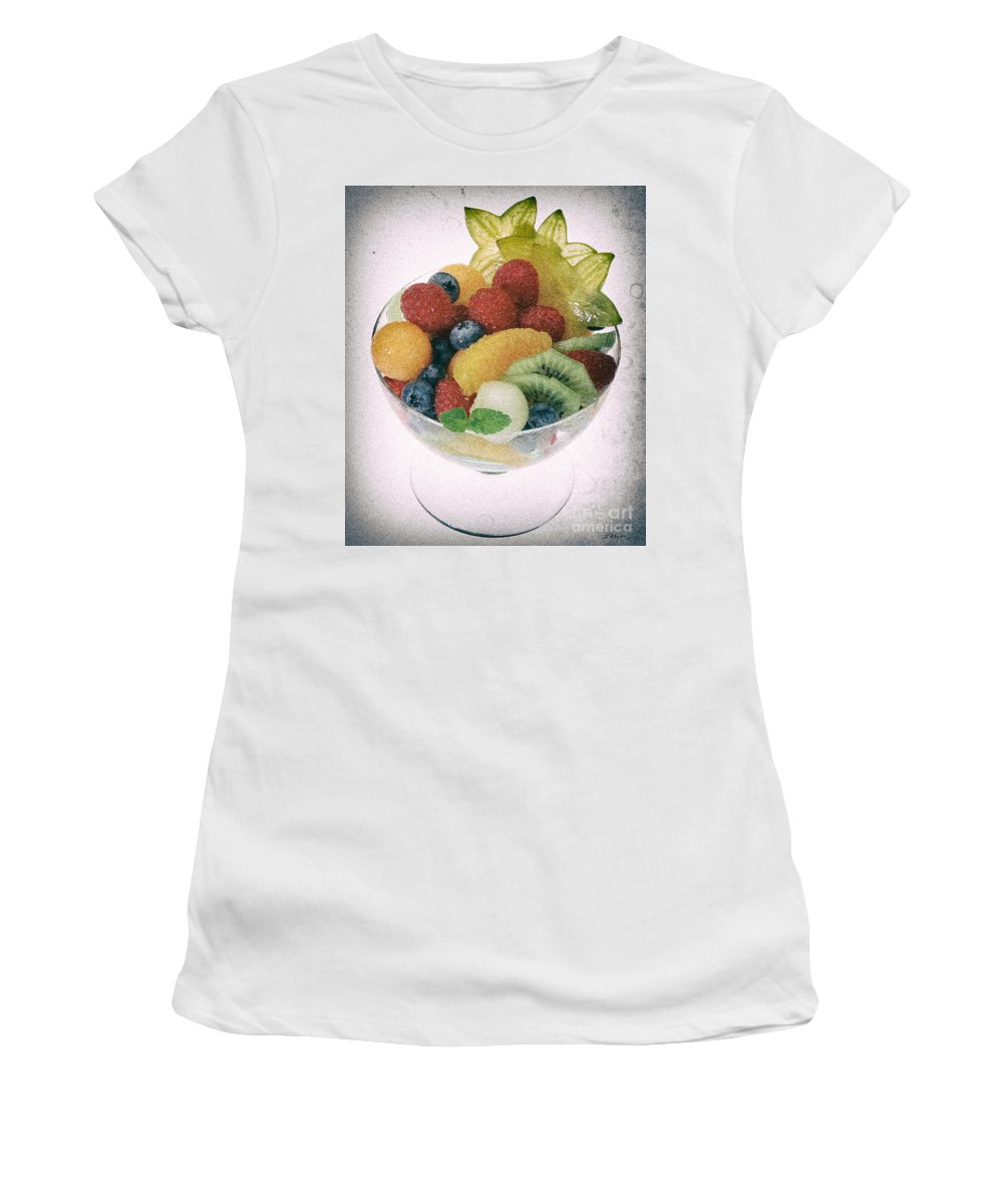 Food Women's T-Shirt featuring the photograph Fruit Salad Cup Disteressed by Iris Richardson