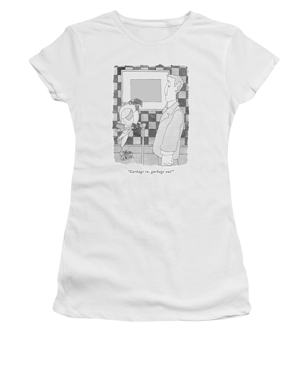 Computers Technology Animals Women's T-Shirt (Athletic Fit) featuring the drawing Garbage In, Garbage Out! by Gahan Wilson