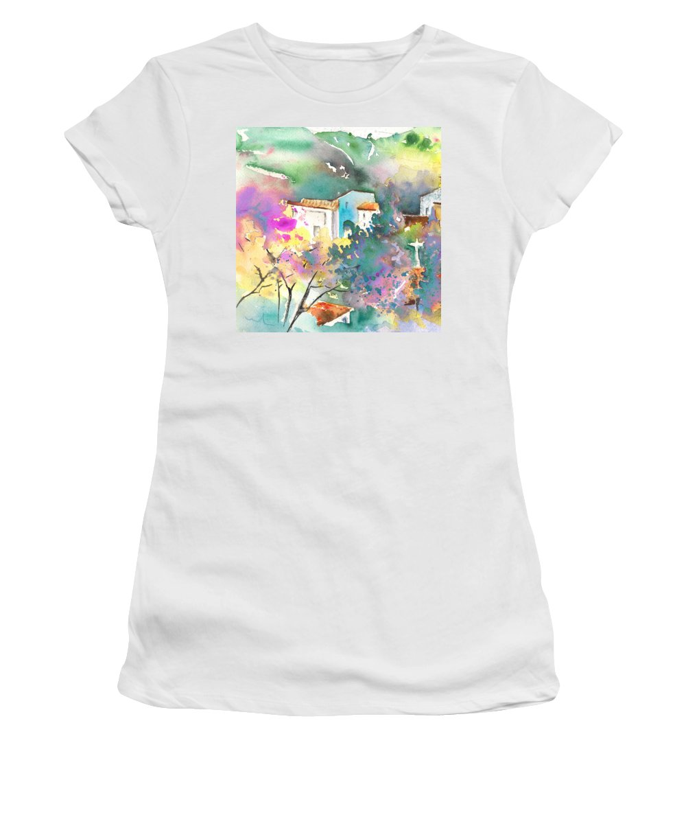 Travel Women's T-Shirt featuring the painting Gatova Spain 01 by Miki De Goodaboom