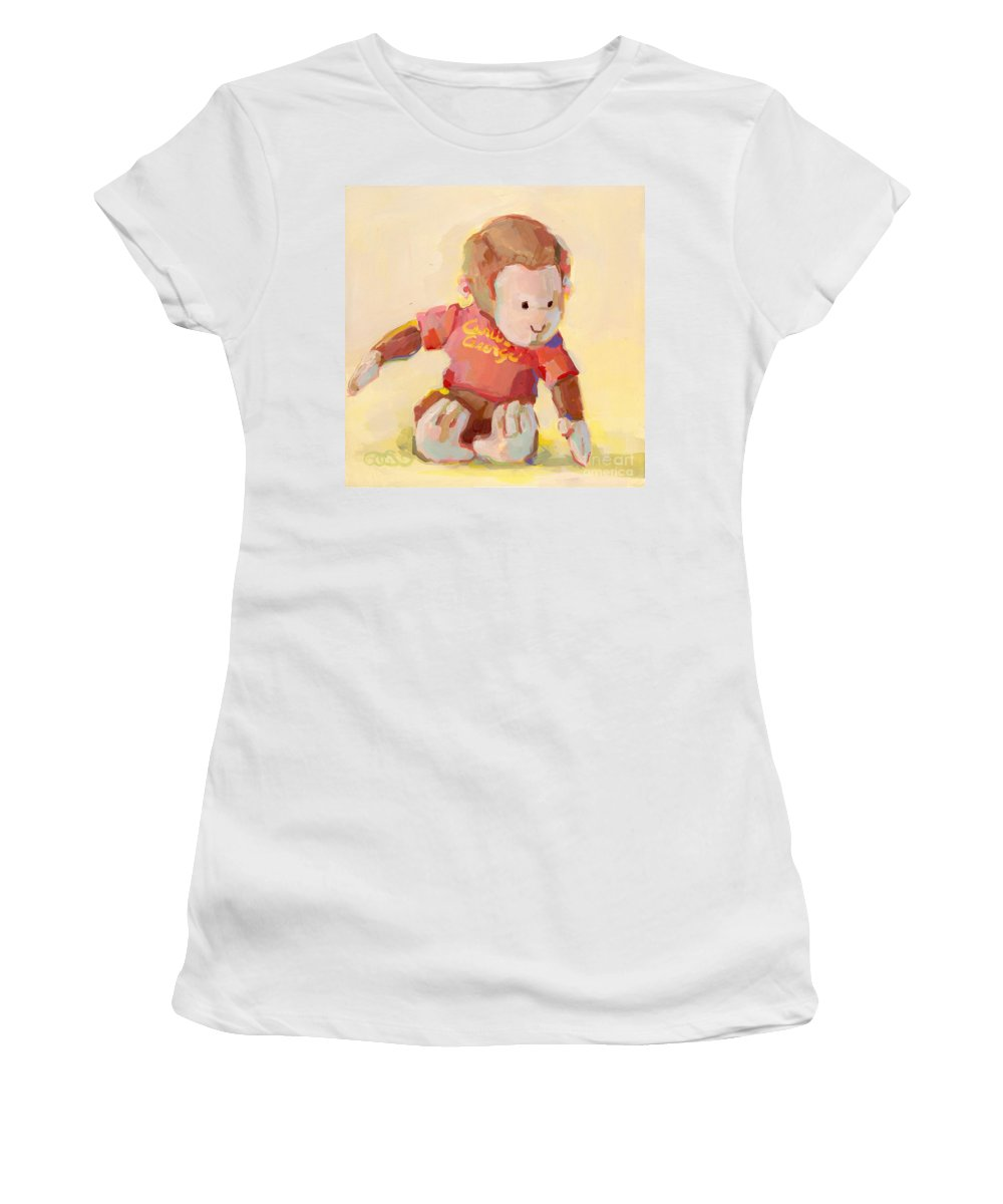 Curious George Women's T-Shirt featuring the painting George by Kimberly Santini