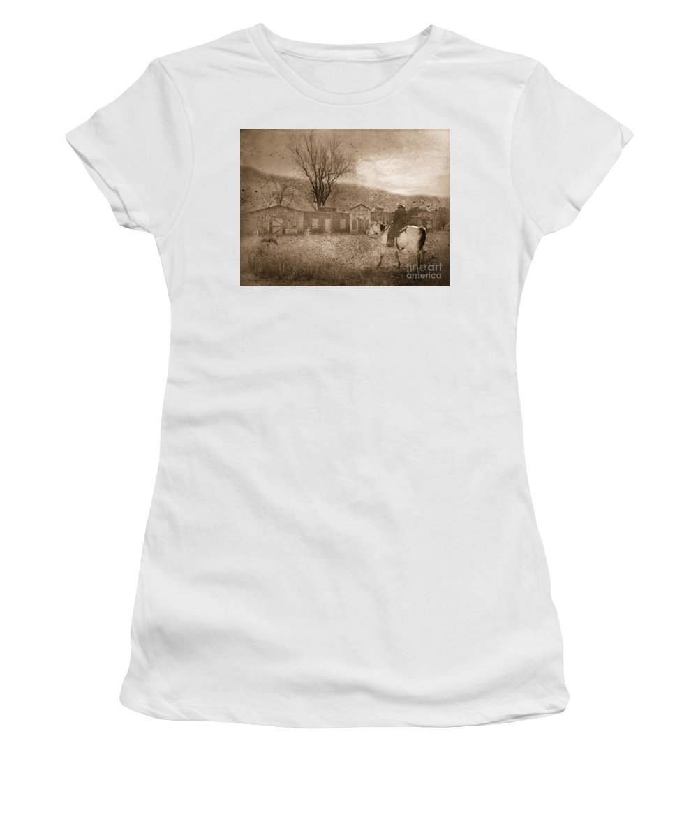 Cowboy Women's T-Shirt (Athletic Fit) featuring the photograph Ghost Town #2 by Betty LaRue