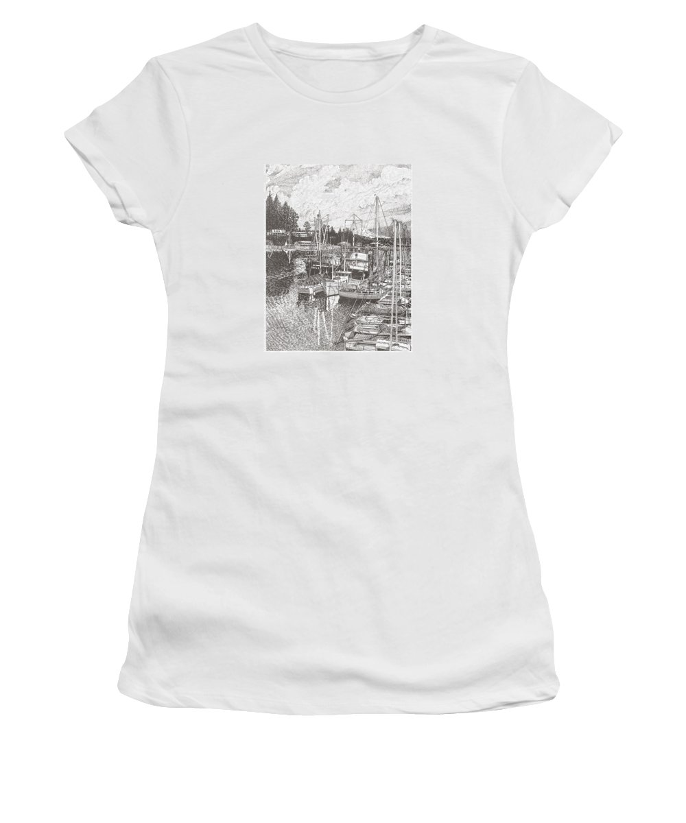 Yacht Portraits Women's T-Shirt featuring the drawing Gig Harbor Entrance by Jack Pumphrey