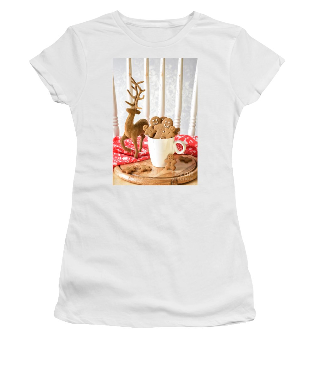 Ginger Women's T-Shirt (Athletic Fit) featuring the photograph Gingerbread Family At Christmas by Amanda Elwell