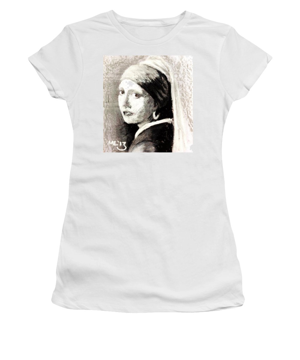 Oil Pastel Women's T-Shirt featuring the pastel Girl With A Pearl Earring By Jan Vermeer Van Delft by Maria Leah Comillas