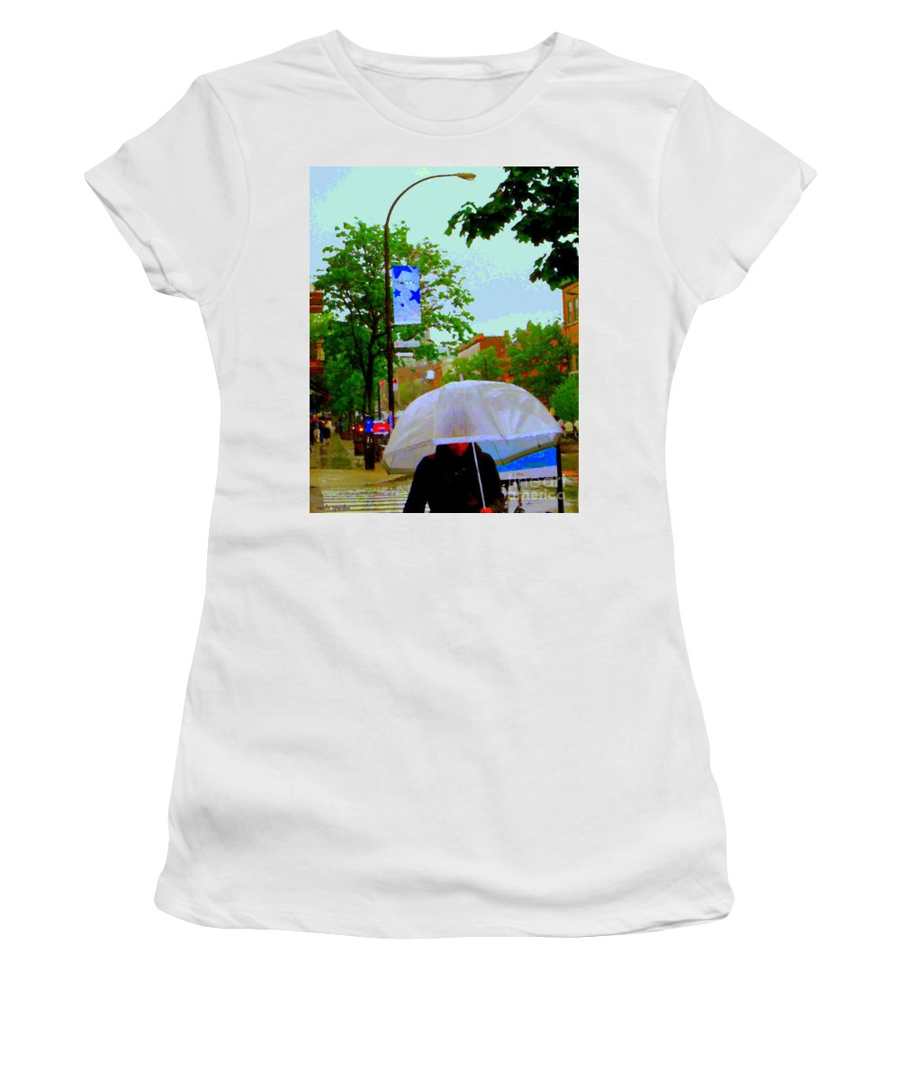 Rain Women's T-Shirt featuring the painting Girl With Large Umbrella Its Raining Its Pouring April Showers Montreal Scenes Carole Spandau Art by Carole Spandau