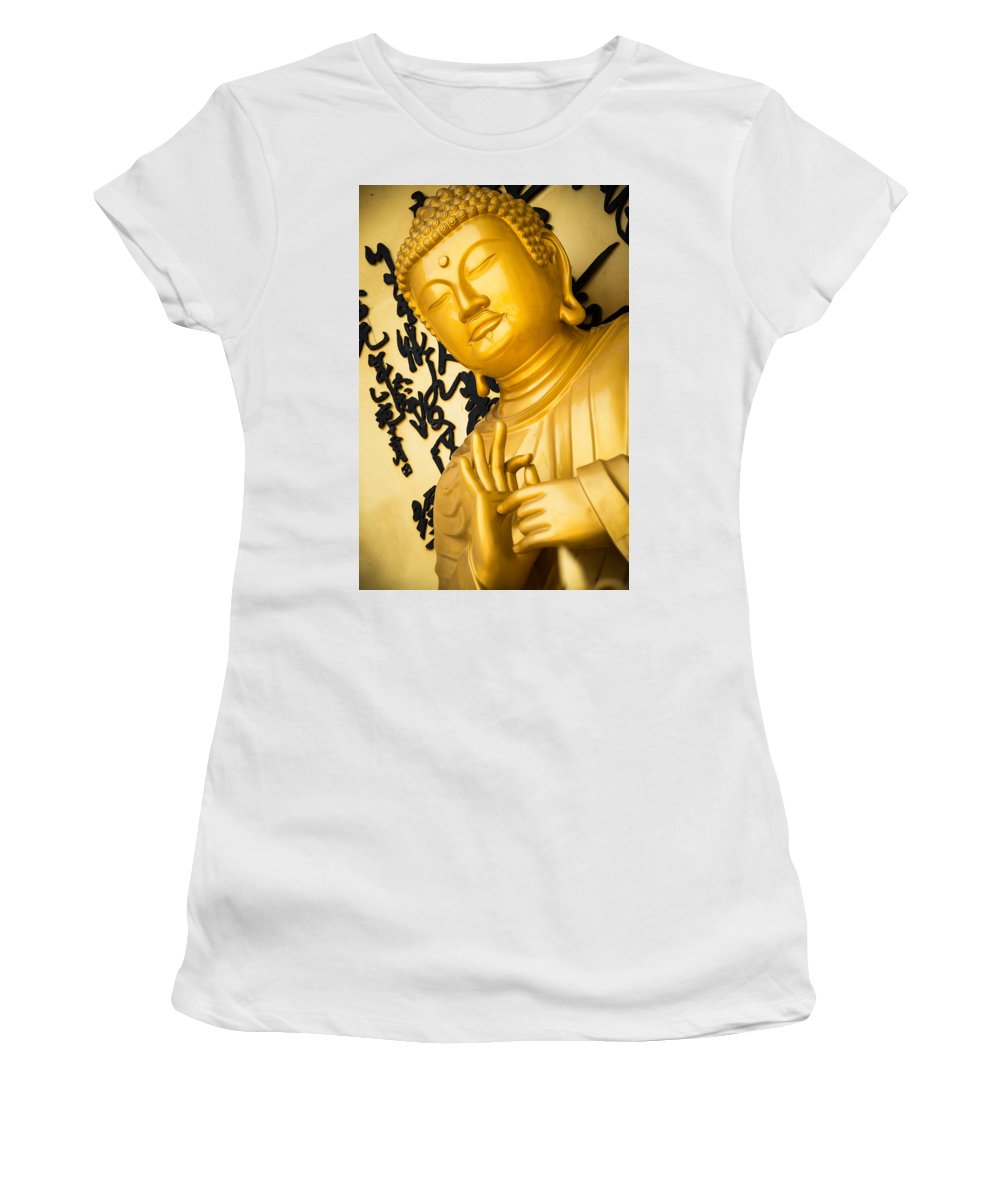 Buddha Women's T-Shirt (Athletic Fit) featuring the photograph Golden Buddha Statue by Dutourdumonde Photography