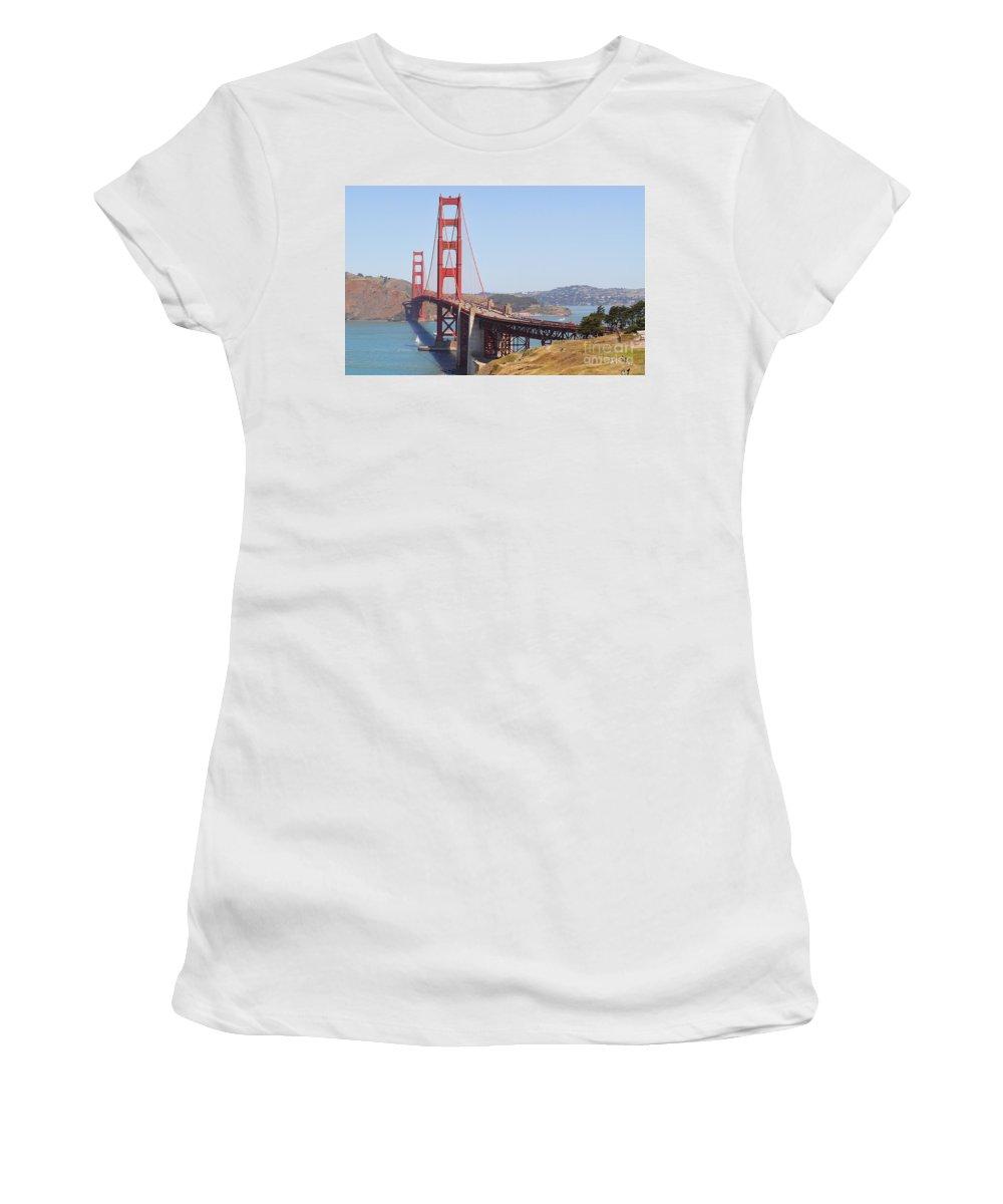 Golden Gate Bridge Women's T-Shirt featuring the photograph Golden Gate 8055 by Jack Schultz