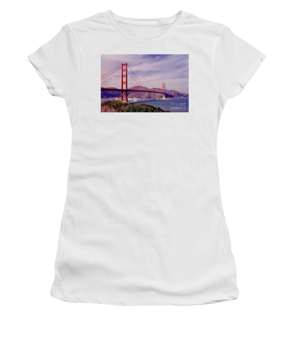 Golden Gate San Francisco Women's T-Shirt (Athletic Fit) featuring the photograph Golden Gate San Francisco by John Malone