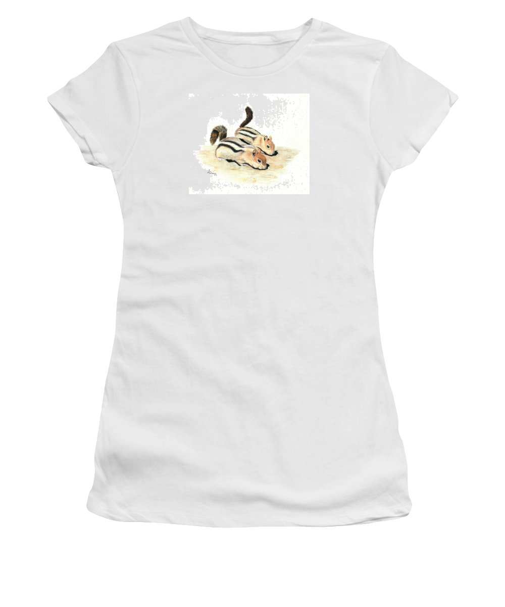 Nature Women's T-Shirt (Athletic Fit) featuring the painting Golden-mantled Ground Squirrels by Lynn Quinn