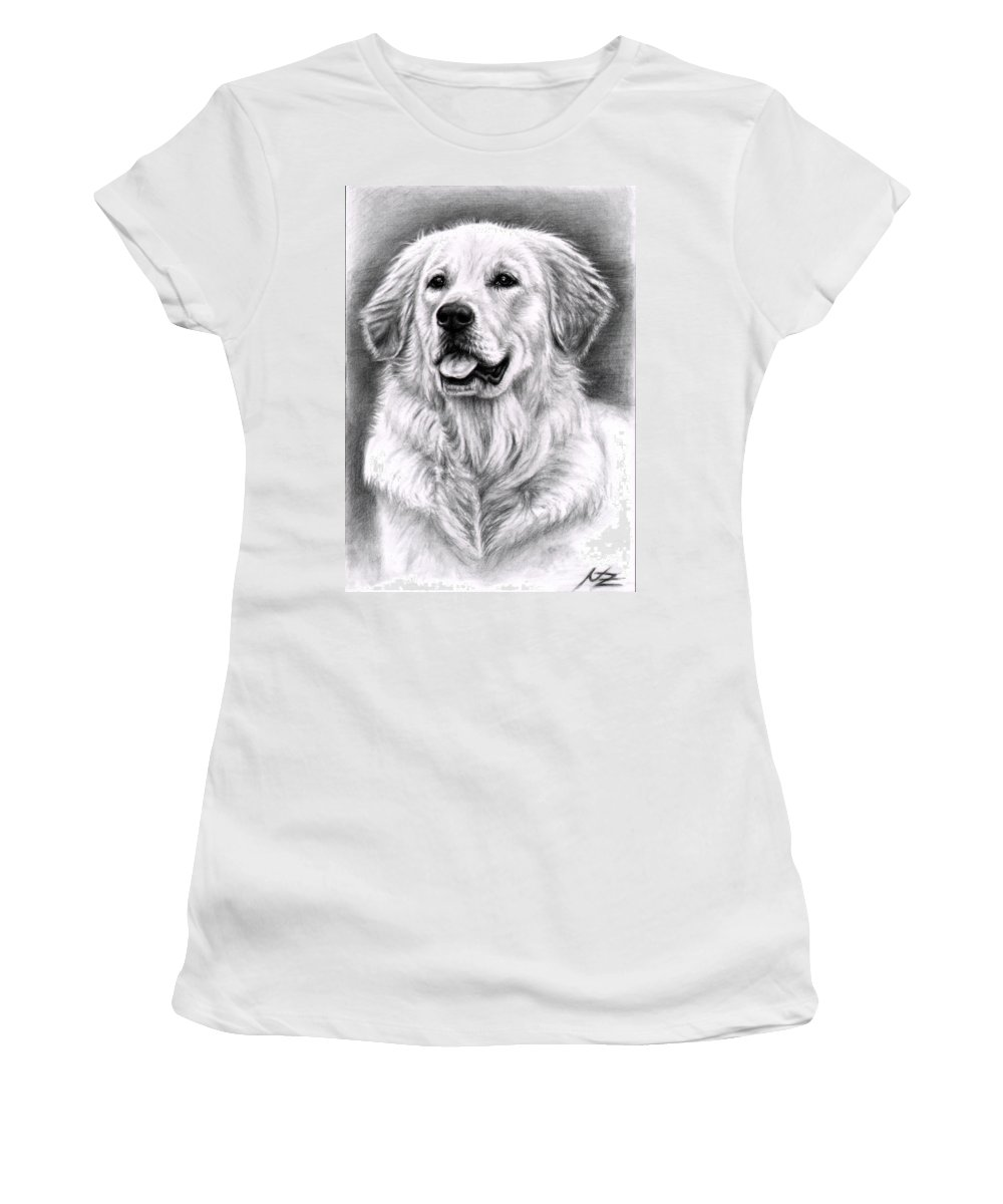 Dog Women's T-Shirt (Athletic Fit) featuring the drawing Golden Retriever Spence by Nicole Zeug