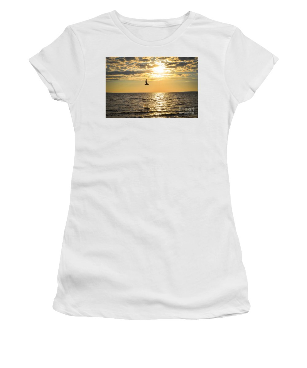 Sunset Women's T-Shirt (Athletic Fit) featuring the photograph Golden Sunset by Bianca Nadeau