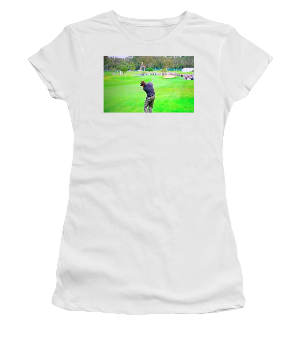 Golf Swing Drive Women's T-Shirt (Athletic Fit) featuring the digital art Golf Swing Drive by Dan Sproul