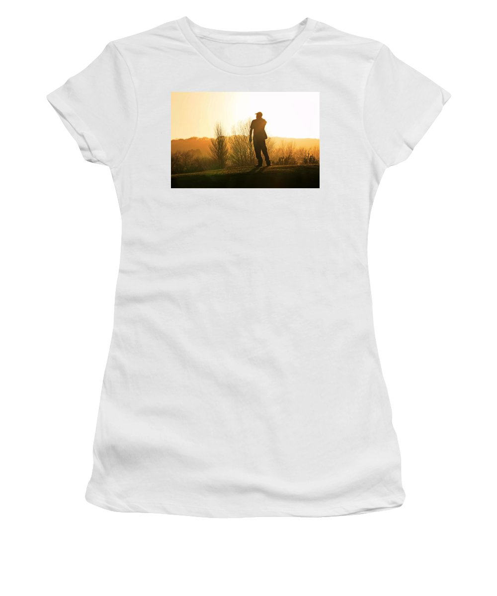 Golfer Women's T-Shirt (Athletic Fit) featuring the photograph Golfer At Sunset by Steve Ball