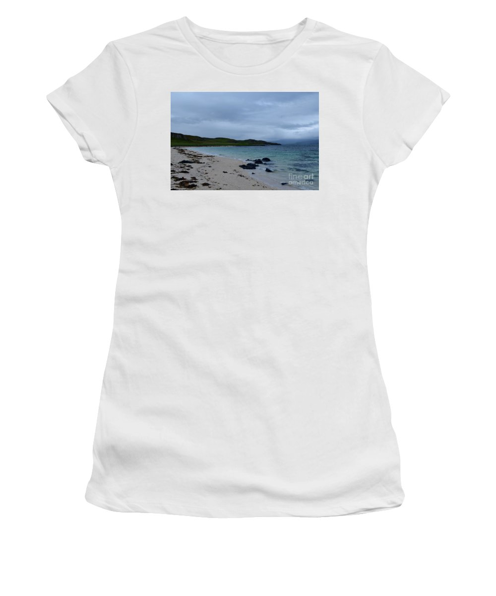 Coral Beach Women's T-Shirt (Athletic Fit) featuring the photograph Gorgeous Coral Beach On Skye In Scotland by DejaVu Designs