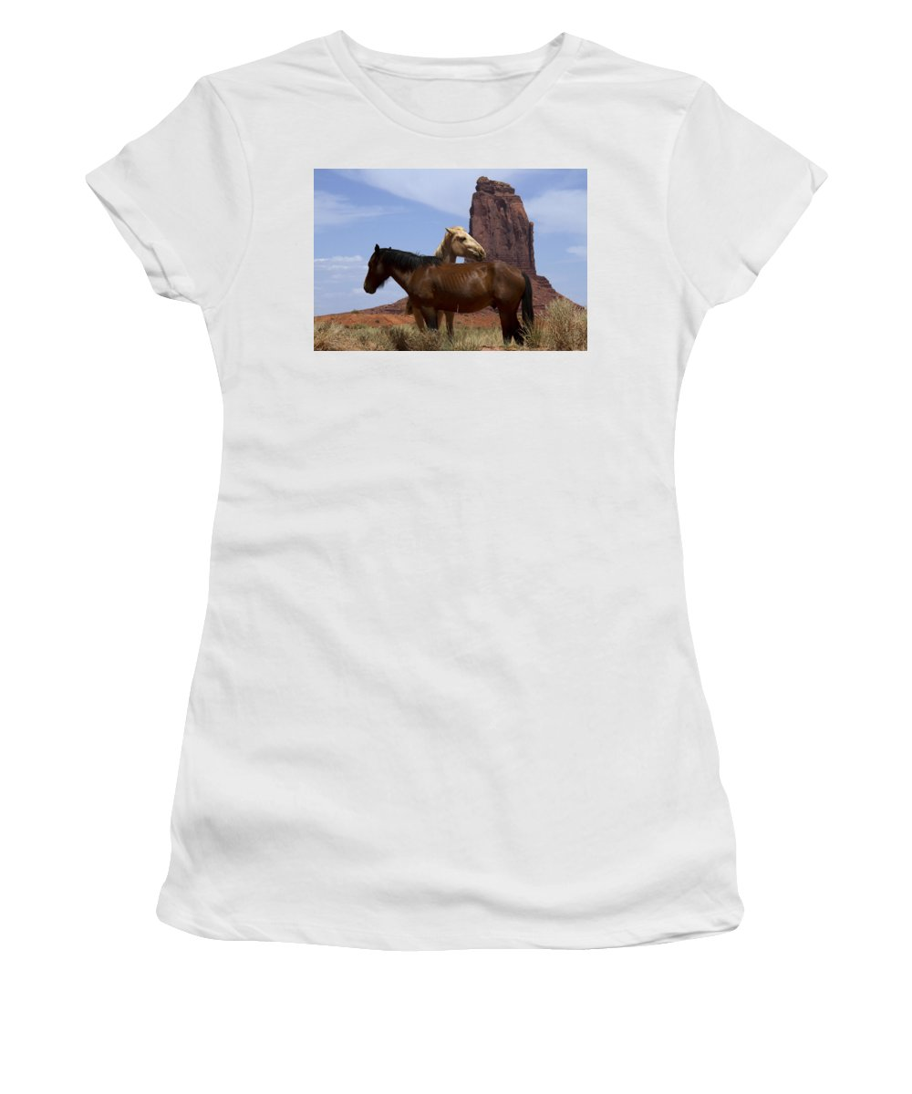 Wild Horses Women's T-Shirt (Athletic Fit) featuring the photograph Got Your Back by Debby Richards