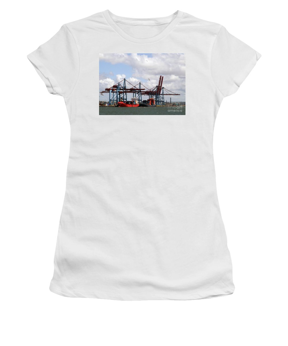 Boat Women's T-Shirt (Athletic Fit) featuring the photograph Gothenburg Harbour 07 by Antony McAulay