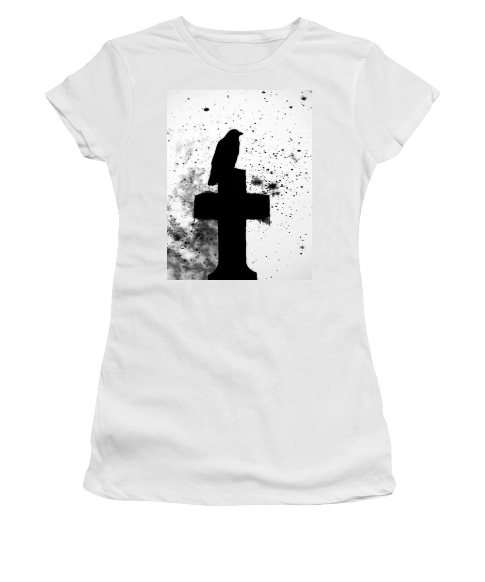 Crow In Black And White Art Women's T-Shirt featuring the photograph Gothic Black And White by Gothicrow Images