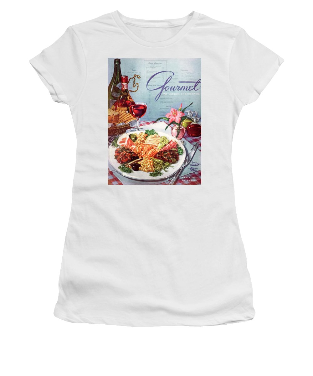 Food Women's T-Shirt featuring the photograph Gourmet Cover Illustration Of A Plate Of Antipasto by Henry Stahlhut