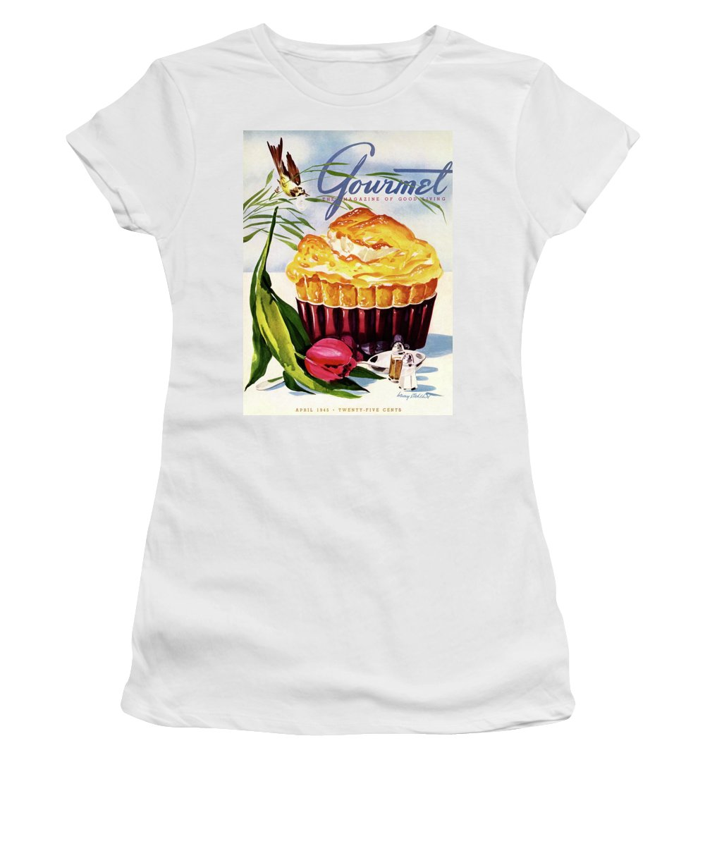 Illustration Women's T-Shirt featuring the photograph Gourmet Cover Illustration Of A Souffle And Tulip by Henry Stahlhut