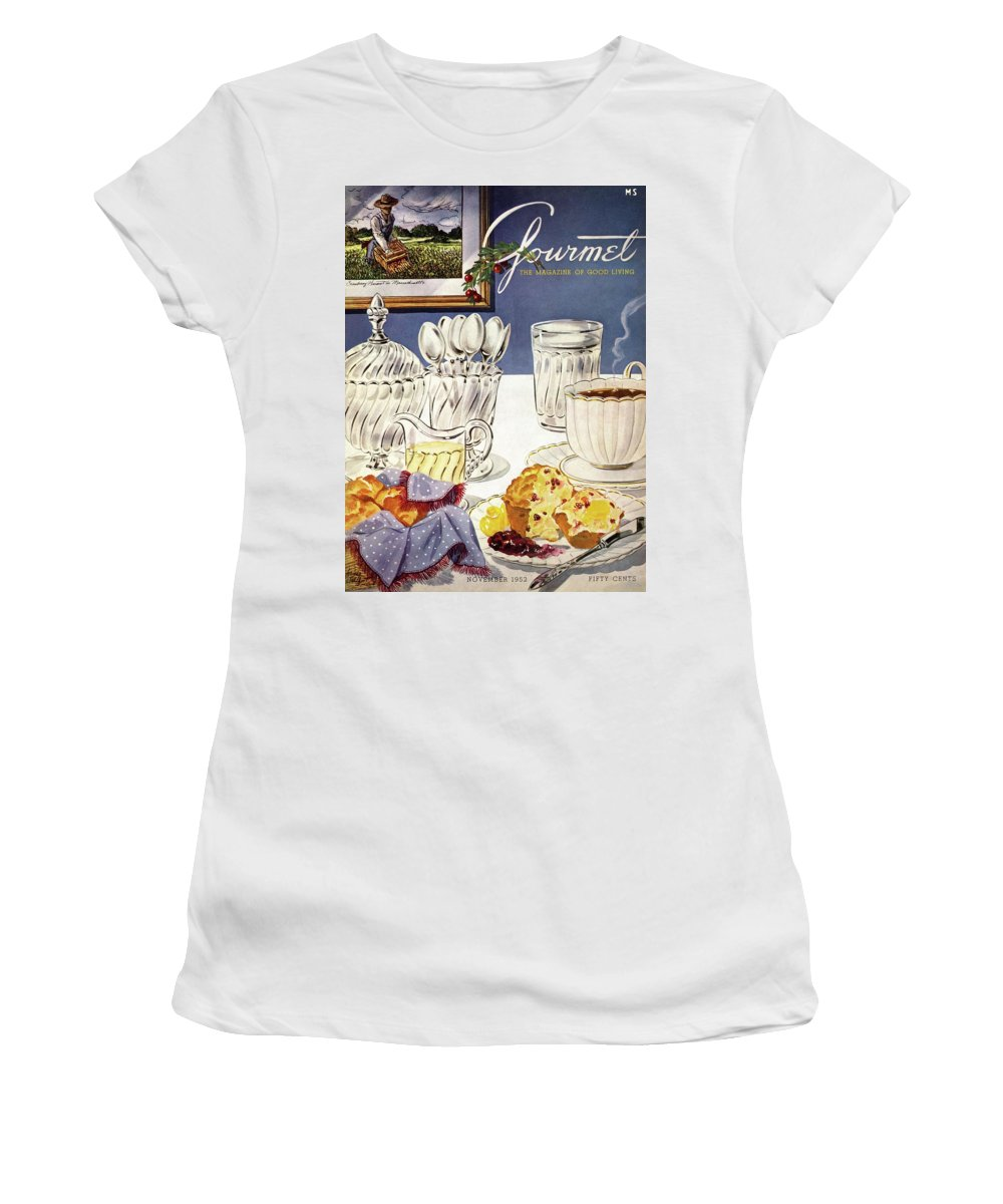 Food Women's T-Shirt featuring the photograph Gourmet Cover Illustration Of Cranberry Muffins by Henry Stahlhut