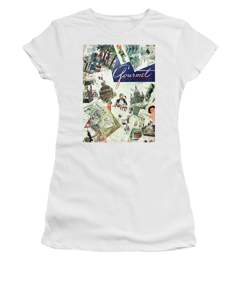 Illustration Women's T-Shirt featuring the photograph Gourmet Cover Illustration Of Drawings Portraying by Henry Stahlhut