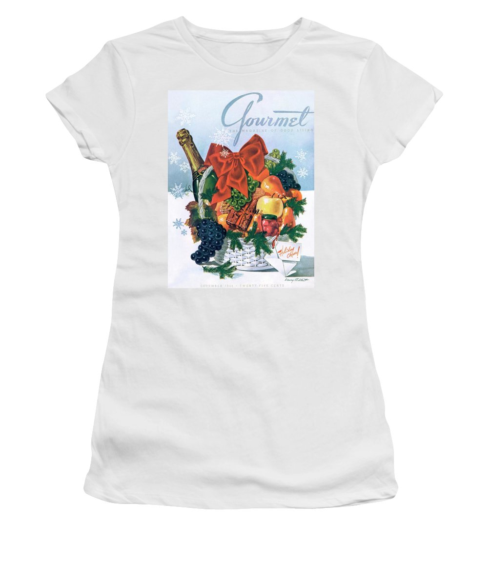 Food Women's T-Shirt featuring the photograph Gourmet Cover Illustration Of Holiday Fruit Basket by Henry Stahlhut