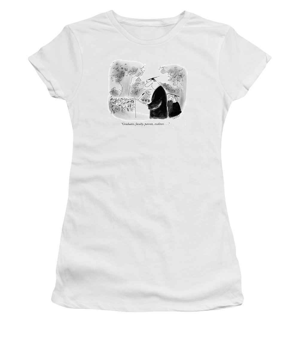 (speaker At College Graduation) Education Women's T-Shirt (Athletic Fit) featuring the drawing Graduates, Faculty, Parents, Creditors by Arnie Levin