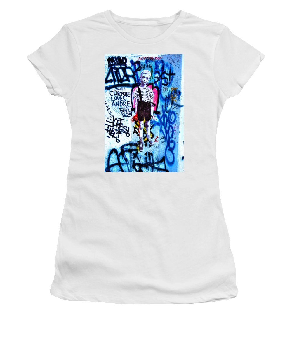 Child With Toy Hand Grenade Women's T-Shirt featuring the photograph Graffiti Rendition Of Diane Arbus's Photo - Child With Toy Hand Grenade In Central Park by Randy Aveille