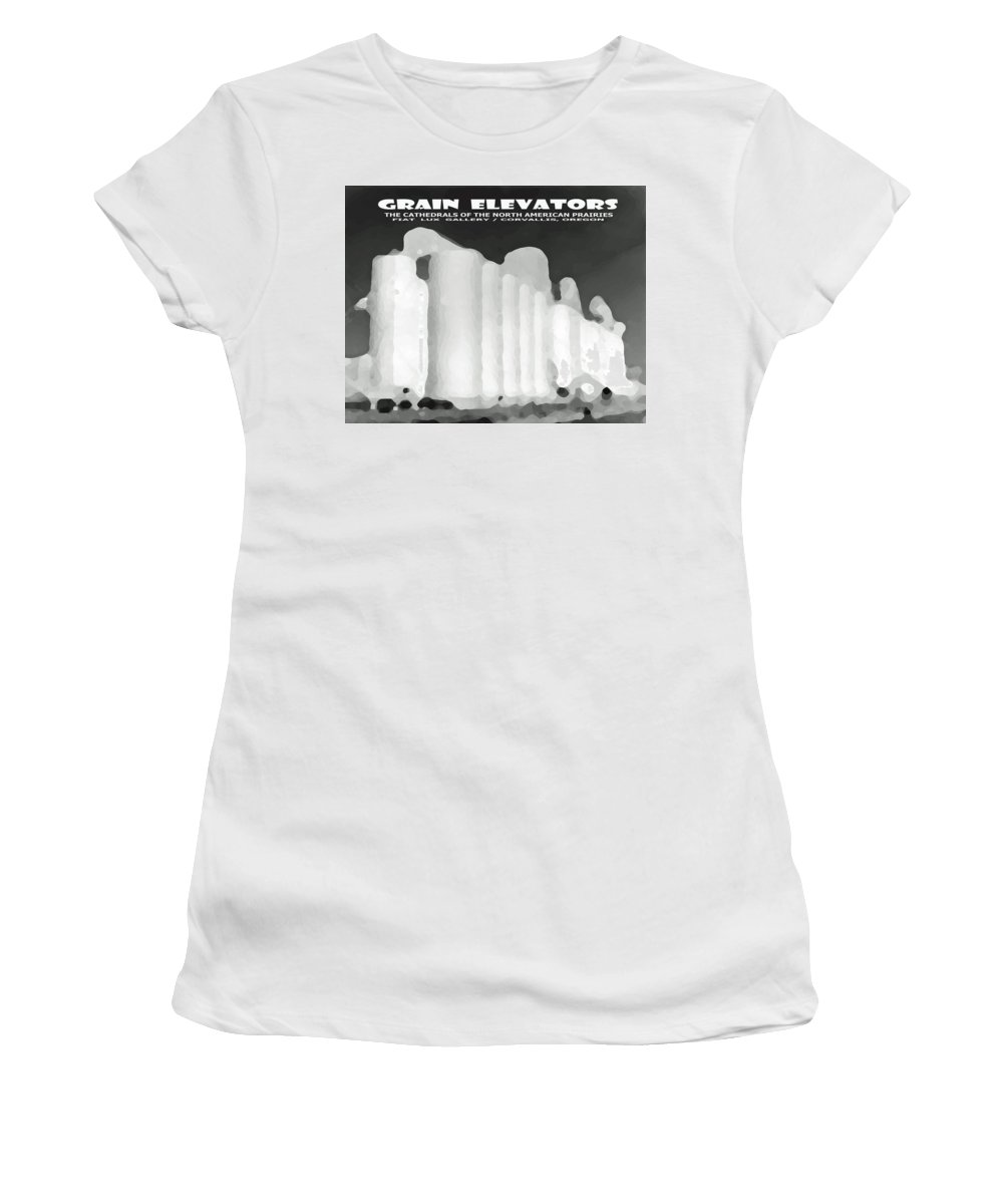 Grain Elevators Women's T-Shirt featuring the digital art Grain Elevators Sacramento Valley California by Michael Moore